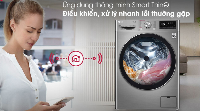 Máy giặt LG Inverter 10.5 kg FV1450S3V-Tiện lợi khi chuẩn đoán, xử lý nhanh các lỗi thường gặp với ứng dụng thông minh SmartThinQ