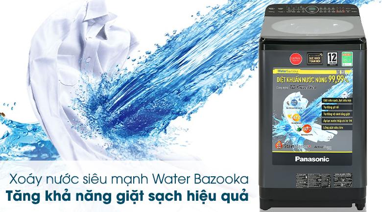 Máy giặt Panasonic Inverter 9.5 Kg NA-FD95V1BRV-Động cơ TD Inverter còn tạo ra xoáy nước siêu mạnh Water Bazooka