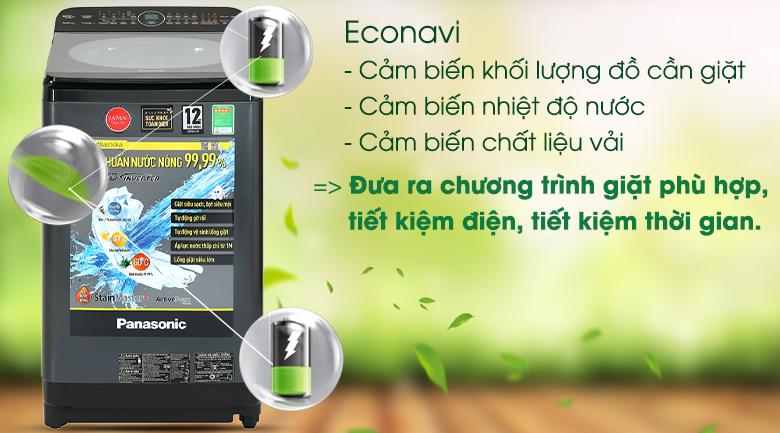 Máy giặt Panasonic Inverter 9.5 Kg NA-FD95V1BRV-Tiết kiệm nước, điện và tối ưu hóa thời gian giặt nhờ cảm biến Econavi