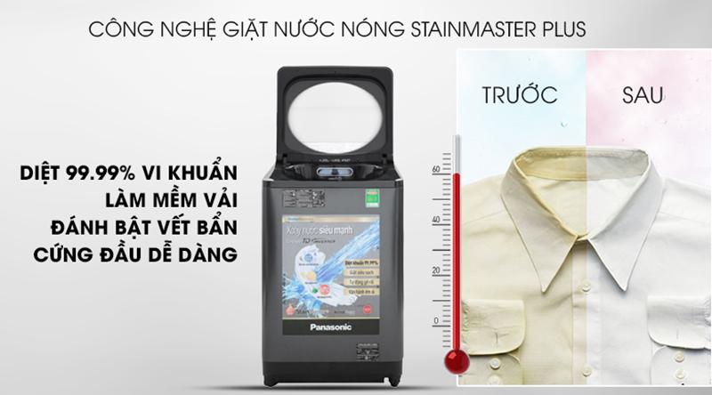 Máy giặt Panasonic Inverter 9.5 Kg NA-FD95V1BRV-Diệt khuẩn tối ưu, giảm nhăn quần áo nhờ công nghệ nước nóng StainMaster+