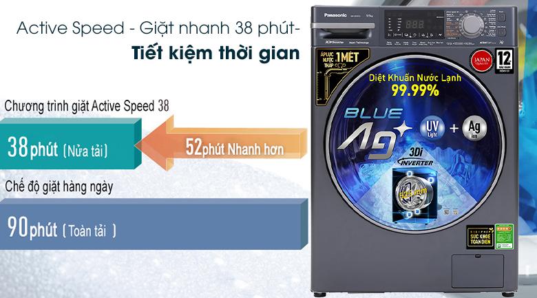 Máy giặt Panasonic Inverter 9.5 Kg NA-V95FX2BVT - Tiết kiệm thời gian với chế độ Active Speed - Giặt nhanh 38 phút