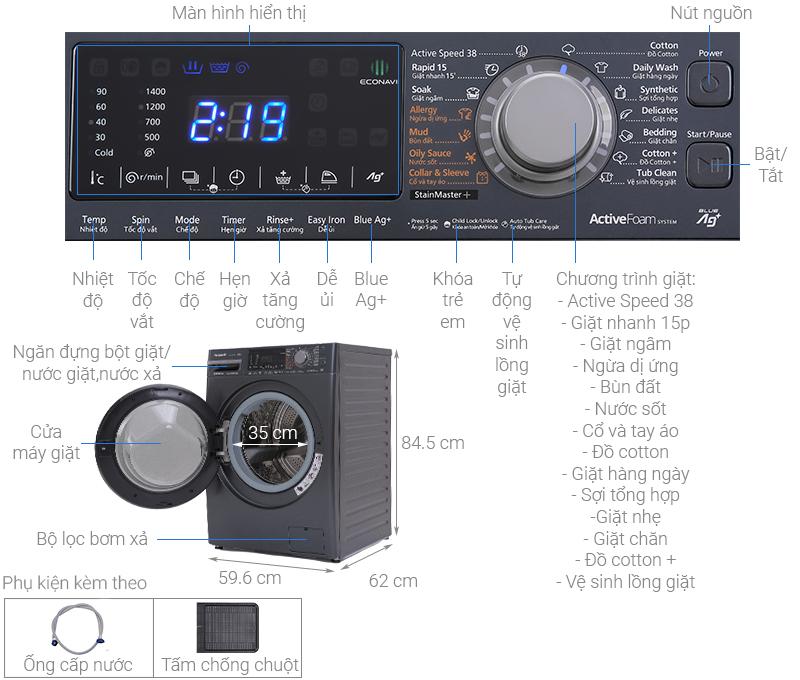 Máy giặt Panasonic Inverter 10.5 Kg NA-V105FX2BV