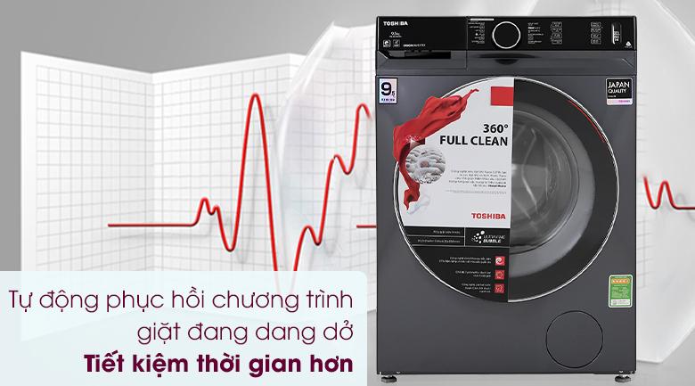 Máy giặt Toshiba Inverter 9.5 Kg TW-BK105G4V(MG) - Tự động phục hồi chương trình giặt