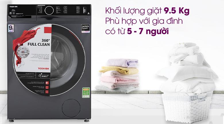 Máy giặt Toshiba Inverter 9.5 Kg TW-BK105G4V(MG) - Khối lượng