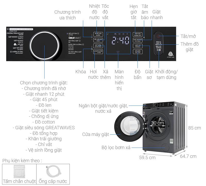 Thông số kỹ thuật Máy giặt Toshiba Inverter 10.5 Kg TW-BK115G4V (MG)
