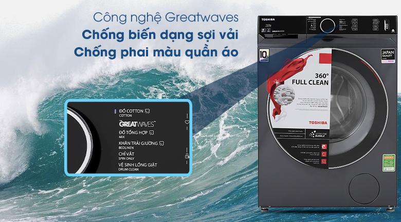 Máy giặt Toshiba Inverter 10.5 Kg TW-BK115G4V (MG) - Công nghệ Greatwaves