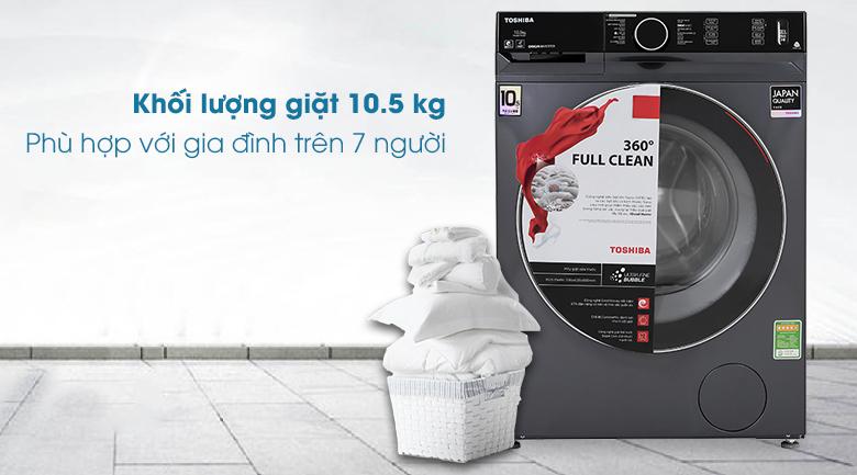 Máy giặt Toshiba Inverter 10.5 Kg TW-BK115G4V (MG) - Khối lượng giặt