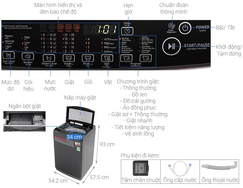 Thông số kỹ thuật Máy giặt LG Inverter 9kg T2109VSAB