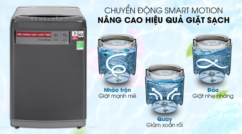 Máy giặt LG Inverter 9kg T2109VSAB-Nâng cao hiệu quả giặt sạch nhờ công nghệ Smart Motion 3