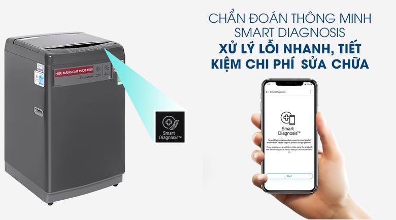 Máy giặt LG Inverter 9kg T2109VSAB-Xử lý lỗi nhanh, tiết kiệm chi phí sửa chữa nhờ công nghệ chẩn đoán lỗi Smart Diagnosis