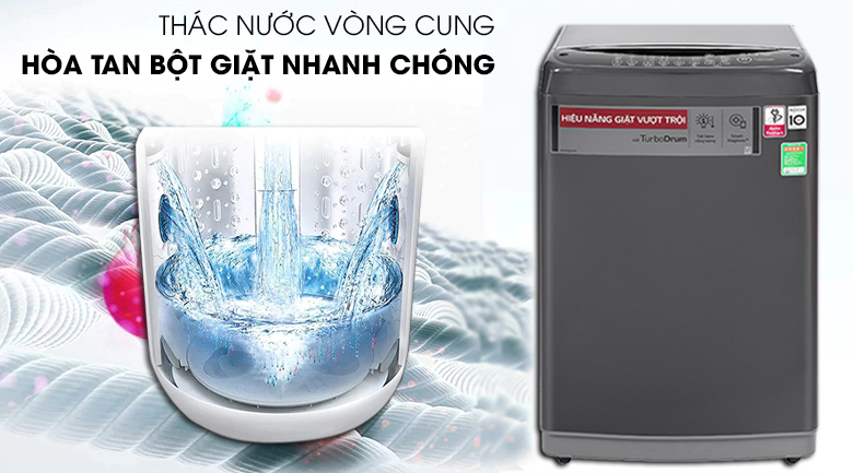 Máy giặt LG Inverter 9kg T2109VSAB Có hiệu ứng thác nước vòng cung