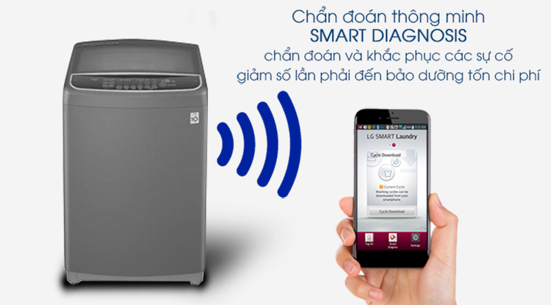 Máy giặt LG Inverter 10.5 kg T2350VSAB-Chuẩn đoán, xử lý lỗi nhanh, tiết kiệm chi phí sửa chữa với công nghệ Smart Diagnosis