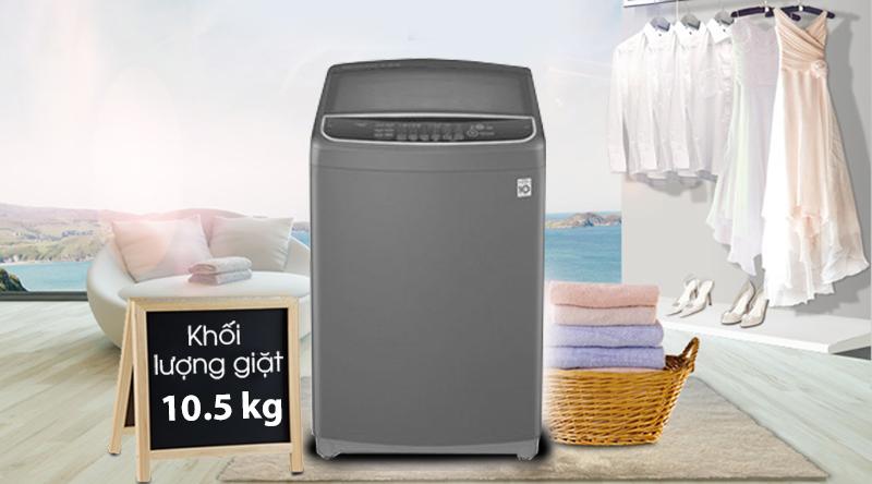 Máy giặt LG Inverter 10.5 kg T2350VSAB-Khối lượng giặt 10.5kg, phù hợp cho hộ gia đình nhiều thành viên (trên 6 người)