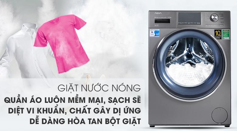 Máy giặt Aqua Inverter 10.5 KG AQD-DD1050E S - Giặt nước nóng