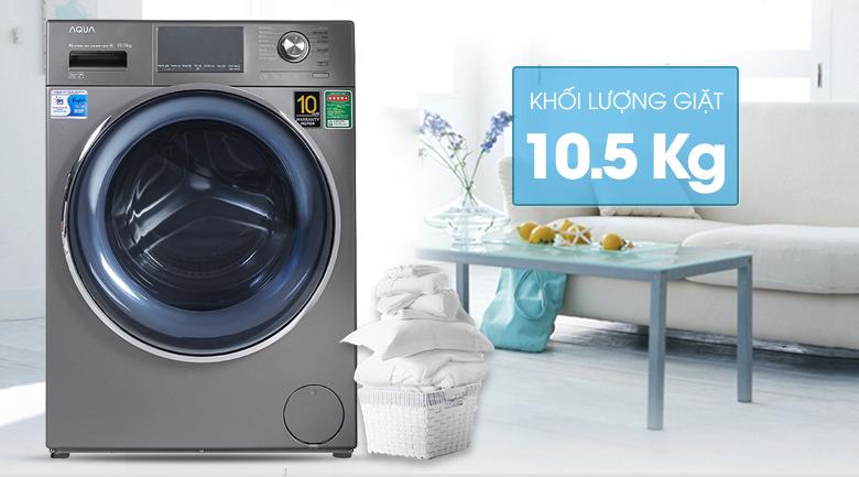 Máy giặt Aqua Inverter 10.5 KG AQD-DD1050E S - Khối lượng 10.5 kg