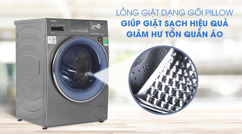 Máy giặt Aqua Inverter 10.5 KG AQD-DD1050E S - Lồng giặt Pillow