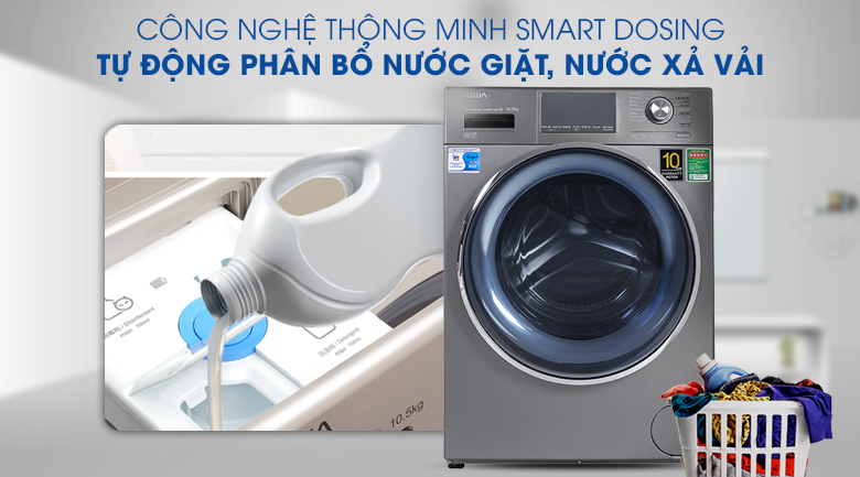 Máy giặt Aqua Inverter 10.5 KG AQD-DD1050E S - Smart Dosing tự động phân bổ nước giặt, nước xả
