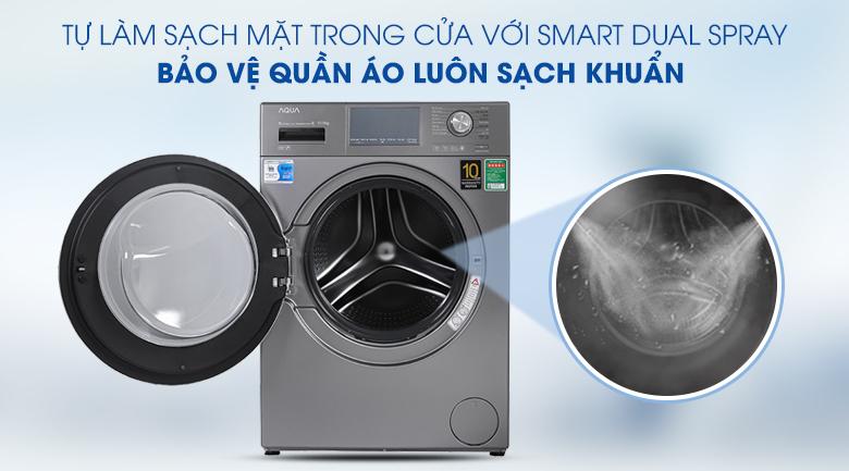 Máy giặt Aqua Inverter 10.5 KG AQD-DD1050E S - Tự làm sạch mặt trong cửa
