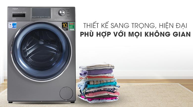 Máy giặt Aqua Inverter 10.5 KG AQD-DD1050E S - Thiết kế sang trọng, hiện đại