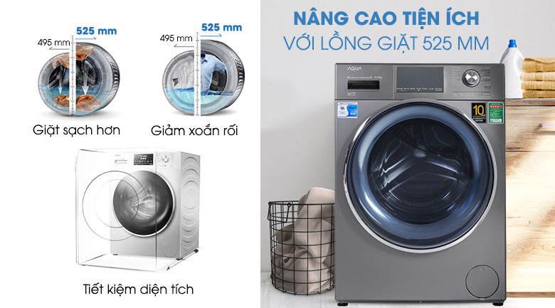 Máy giặt Aqua Inverter 10.5 KG AQD-DD1050E S - Lồng giặt lớn 525 mm