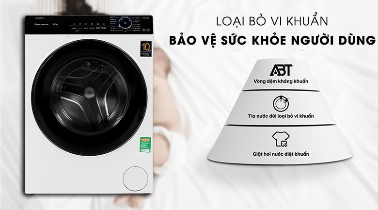 Máy giặt Aqua Inverter 8 KG AQD-A800F W kháng khuẩn tuyệt đối