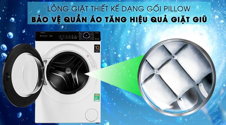 Máy giặt Aqua Inverter 8 KG AQD-A800F W lồng giặt dạng gối Pillow