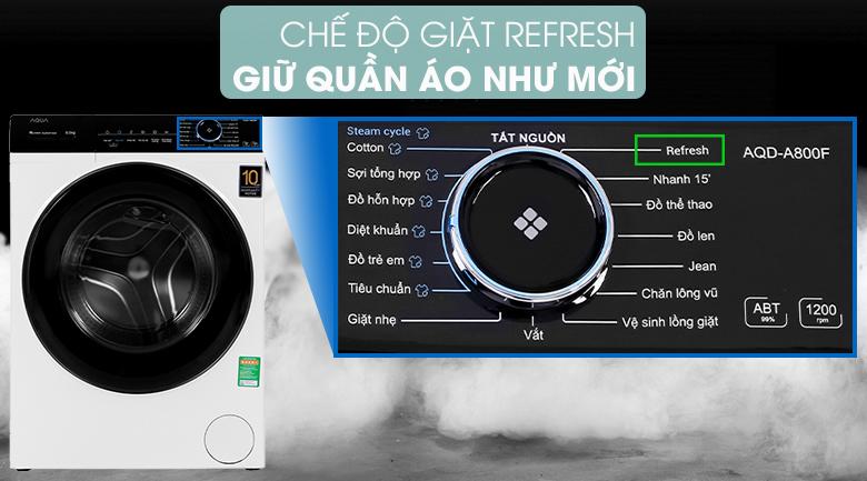 Máy giặt Aqua Inverter 8 KG AQD-A800F W - giúp quần áo luôn như mới