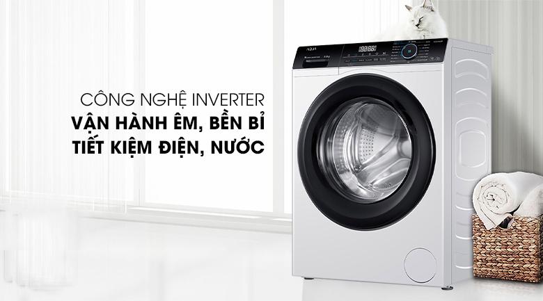 Máy giặt Aqua Inverter 8 KG AQD-A800F W sử dụng công nghệ Inverter