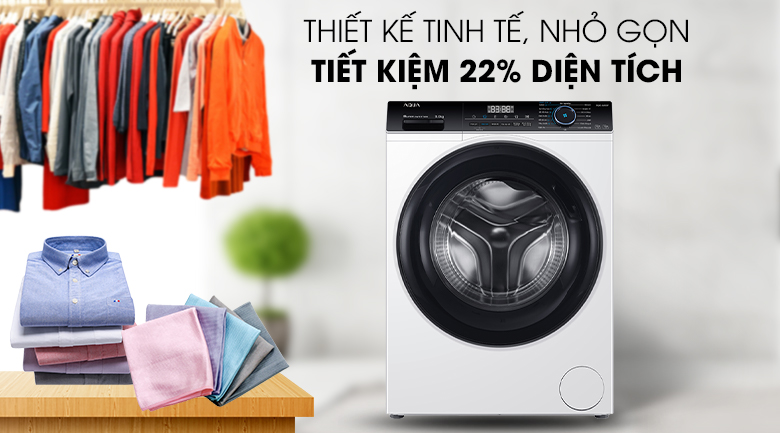 Máy giặt Aqua Inverter 8 KG AQD-A800F W - có thiết kế gọn gàng