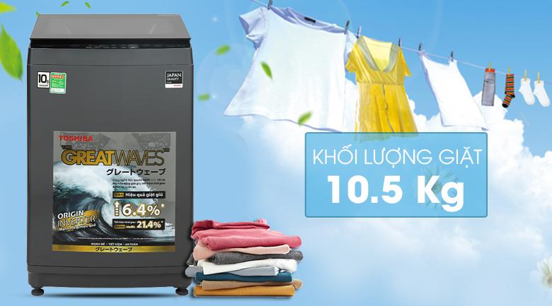 Máy giặt Toshiba Inverter 10,5 kg AW-DUK1150HV(MG) - Khối lượng giặt 10.5kg, phù hợp cho gia đình trên 7 người