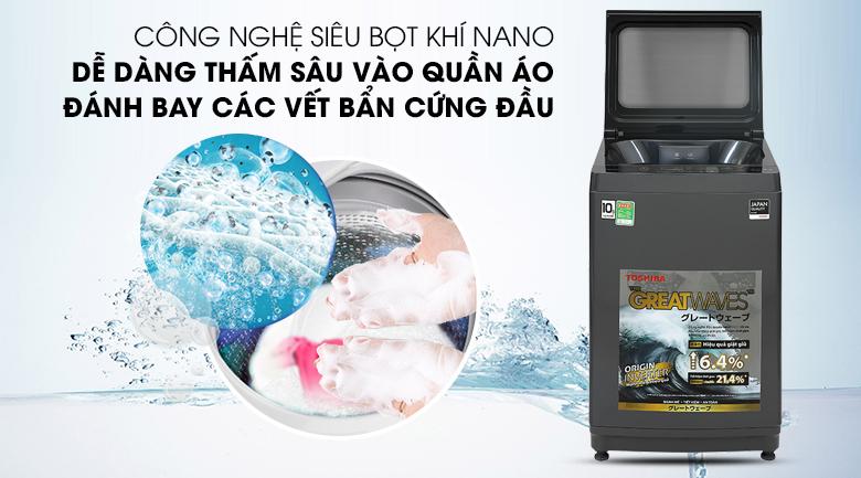 Máy giặt Toshiba Inverter 10,5 kg AW-DUK1150HV(MG)-Thẩm thấu nhanh, đánh bay vết bẩn cứng đầu với công nghệ UFB siêu bọt khí NANO