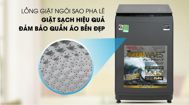 Máy giặt Toshiba Inverter 10,5 kg AW-DUK1150HV(MG) - Bảo vệ quần áo, giảm thiểu sự hư tổn sợi vải nhờ lồng giặt ngôi sao pha lê