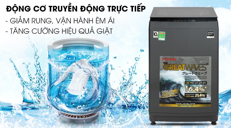 Máy giặt Toshiba Inverter 10,5 kg AW-DUK1150HV(MG) - Vận hành êm ái nhờ động cơ truyền động trực tiếp