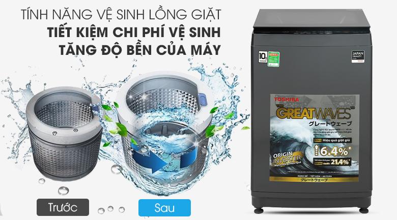 Máy giặt Toshiba Inverter 10,5 kg AW-DUK1150HV(MG) - Tiết kiệm thời gian, kéo dài tuổi thọ sản phẩm với chức năng tự vệ sinh lồng giặt
