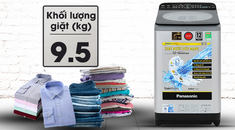 Khối lượng giặt - Máy giặt Panasonic Inverter 9.5kg NA-FD95X1LRV