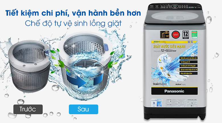 Tự vệ sinh lồng giặt - Máy giặt Panasonic Inverter 9.5kg NA-FD95X1LRV