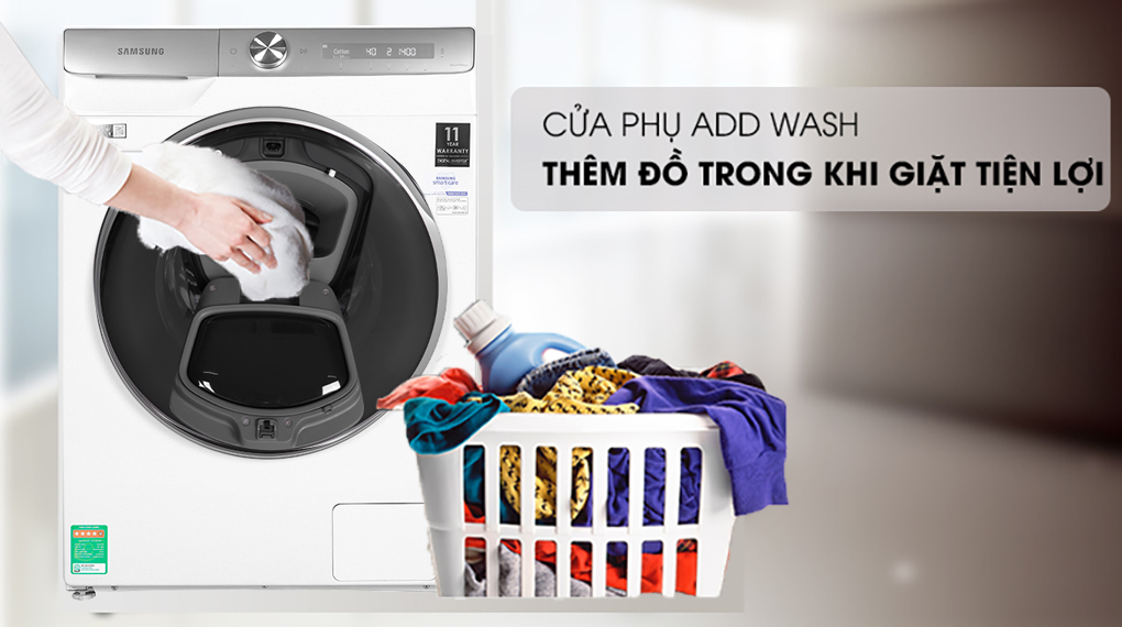 Máy giặt Samsung Inmverter 9 kg WW90TP54DSH/SV - Add Wash