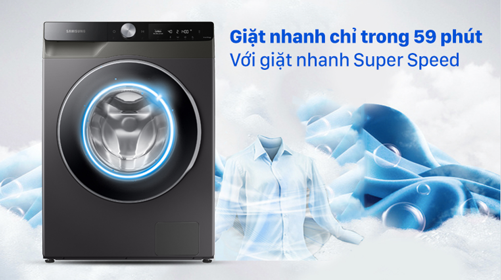 Máy giặt Samsung AI Inverter 10 kg WW10T634DLX/SV - Tiết kiệm thời gian với Super Speed