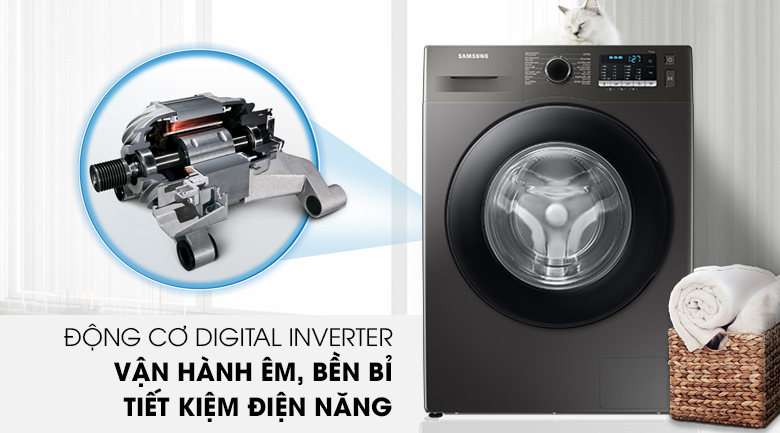 Máy giặt Samsung Inverter 9.5kg WW95TA046AX/SV - Động cơ Digital Inverter tiết kiệm điện năng, vận hành êm ái, bền bỉ