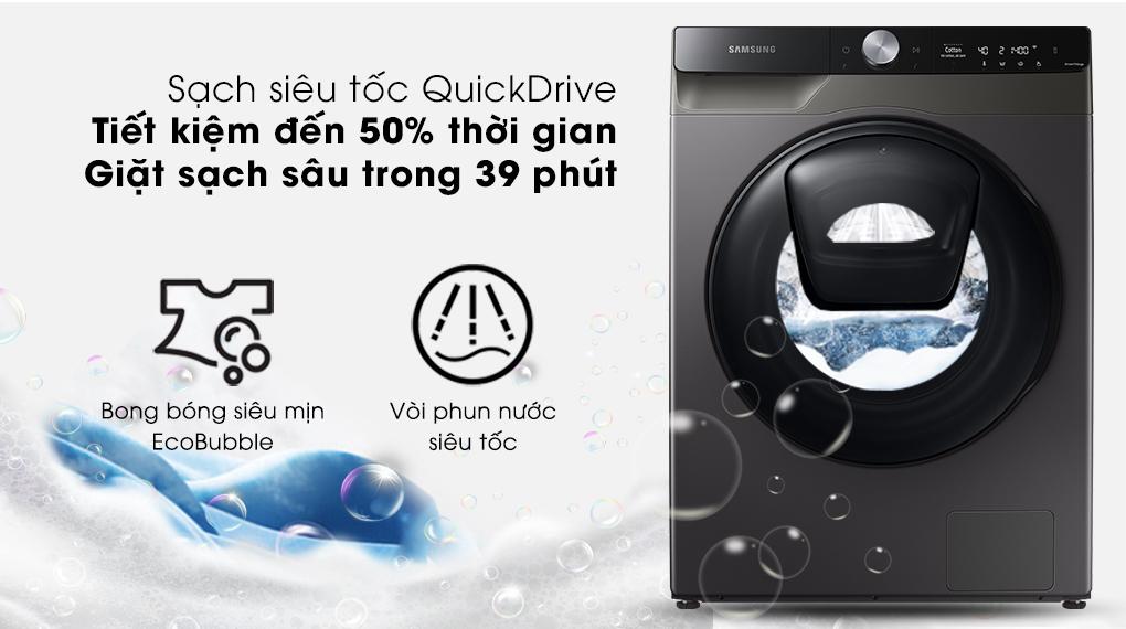 Máy giặt sấy Samsung Addwash Inverter 9.5kg WD95T754DBX/SV-Nâng cao hiệu quả giặt xả nhanh chóng với công nghệ QuickDrive
