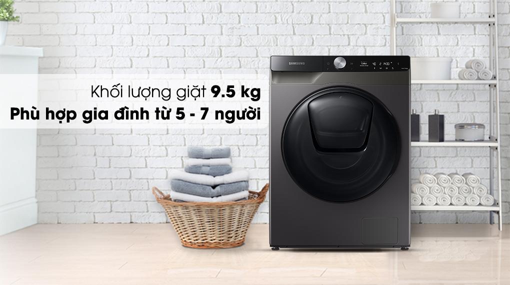 Máy giặt sấy Samsung Addwash Inverter 9.5kg WD95T754DBX/SV-Khối lượng giặt 9.5kg, phù hợp gia đình đông thành viên (từ 5 - 7 người)