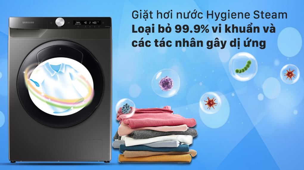 Máy giặt Samsung Inverter 8.5 kg WW85T554DAX/SV - Giặt hơi nước diệt khuẩn và các tác nhân gây dị ứng Hygiene Steam