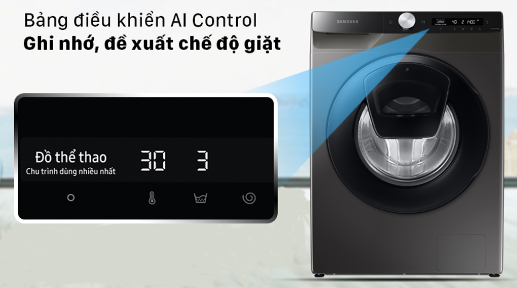 Máy giặt Samsung Inverter 8.5 kg WW85T554DAX/SV - Công nghệ ghi nhớ, phân tích đề xuất chế độ giặt với công nghệ AI thông minh