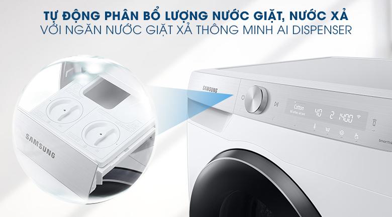 Máy giặt Samsung AI Inverter 9kg WW90TP44DSH/SV - Ngăn nước giặt xả AI Dispenser