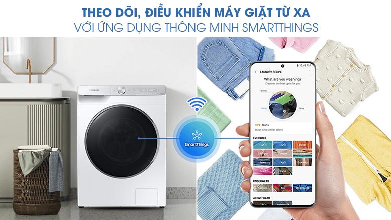 Máy giặt Samsung AI Inverter 9kg WW90TP44DSH/SV - Điều khiển từ xa SmartThings