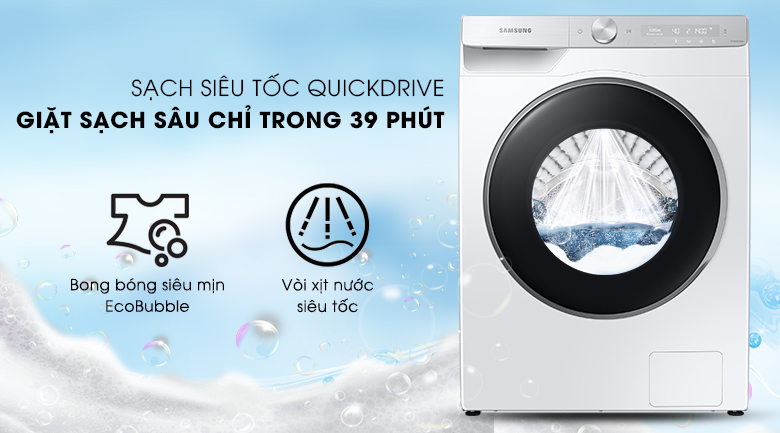 Máy giặt Samsung AI Inverter 9kg WW90TP44DSH/SV - Sạch siêu tốc QuickDrive