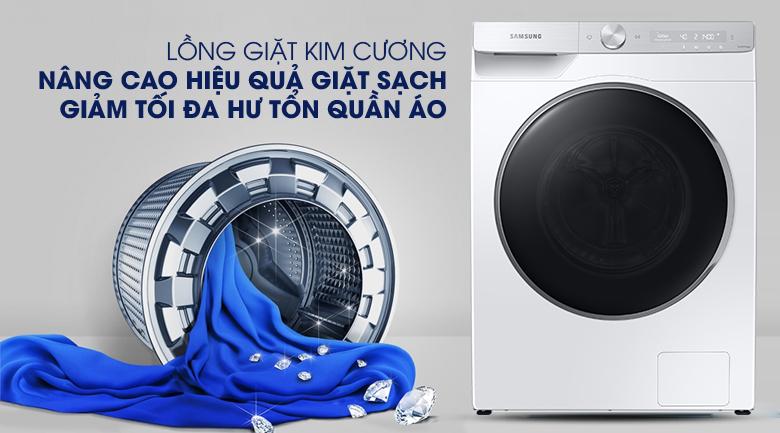 Máy giặt Samsung AI Inverter 9kg WW90TP44DSH/SV - Lồng giặt kim cương giảm hư tổn quần áo