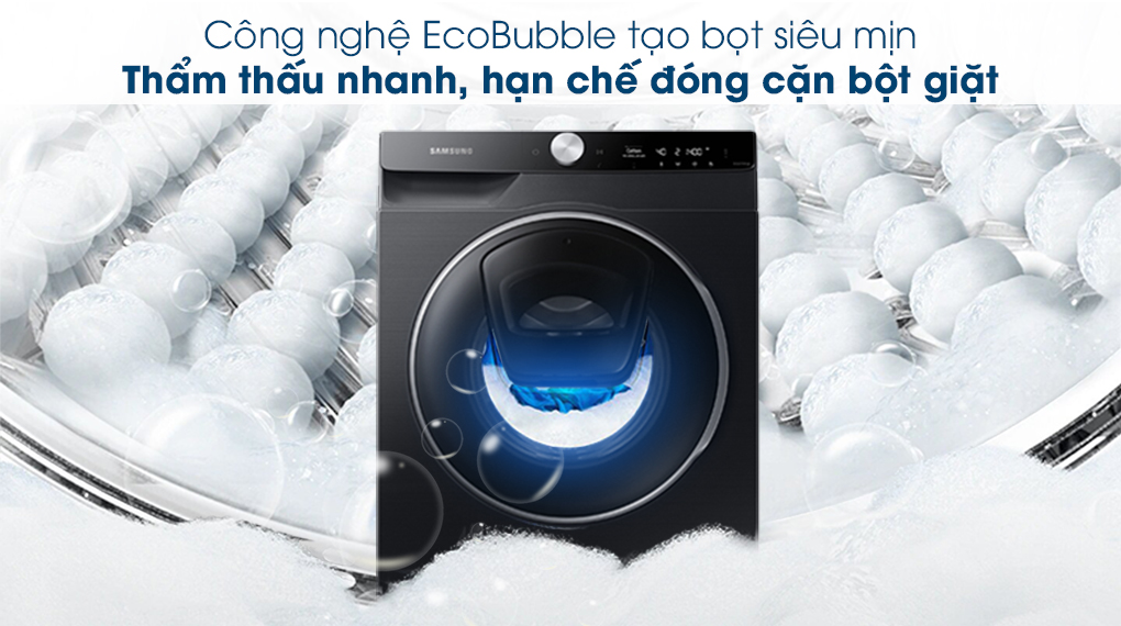 Máy giặt Samsung AI AddWash Inverter 12kg WW12TP94DSB/SV - Giặt bong bóng EcoBubble