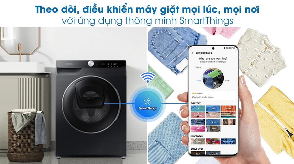 Máy giặt Samsung AI AddWash Inverter 12kg WW12TP94DSB/SV - Điều khiển từ xa với SmartThings