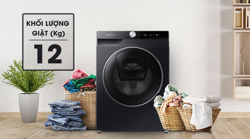 Máy giặt Samsung AI AddWash Inverter 12kg WW12TP94DSB/SV - Khối lượng giặt 12 kg